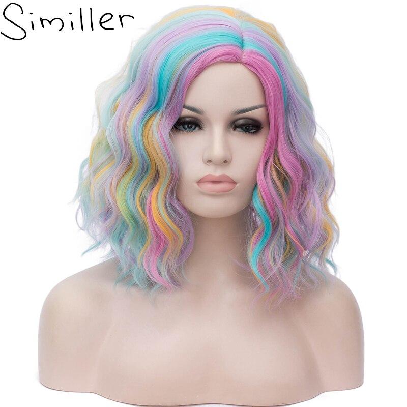 Similar anime kinky encaracolado curto perucas arco-íris colorido peruca sintética para as mulheres lolita cosplay dia das bruxas preto branco