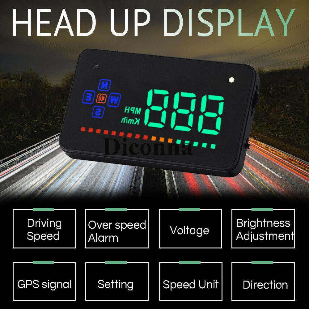 Universal GPS para coche HUD Digital Head Up pantalla camiones velocímetro alarma de advertencia de velocidad seguro automóviles accesorios interiores