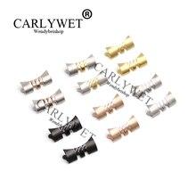 CARLYWET 13 17 19 20 22mm Paslanmaz Çelik Gümüş WatchBand Bilezik Orta cilalı Kavisli uç Parçaları için 2 adet rolex Kayış