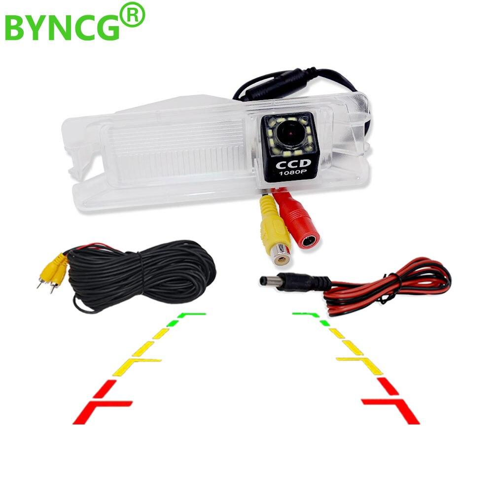 BYNCG resistente al agua 12 LED cámara de visión trasera cámara de respaldo de aparcamiento reverso para 2010 Nissan March Renault Sandero W