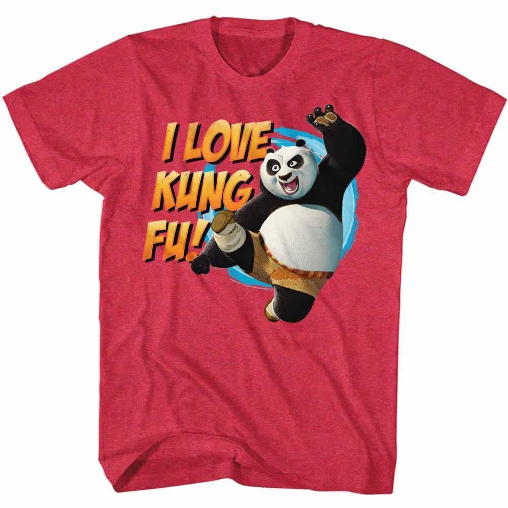 KUNG FU PANDA Mens Short Sleeve T-Shirt CHERRY HEATHER LOVE KUNG FU  Cartoon t shirt men Unisex New Fashion tshirt