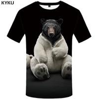kyku bear tshirt men animal t shirt punk rock funny t shirts hip hop tee 3d t shirt black cool mens clothing summer 2018 new
