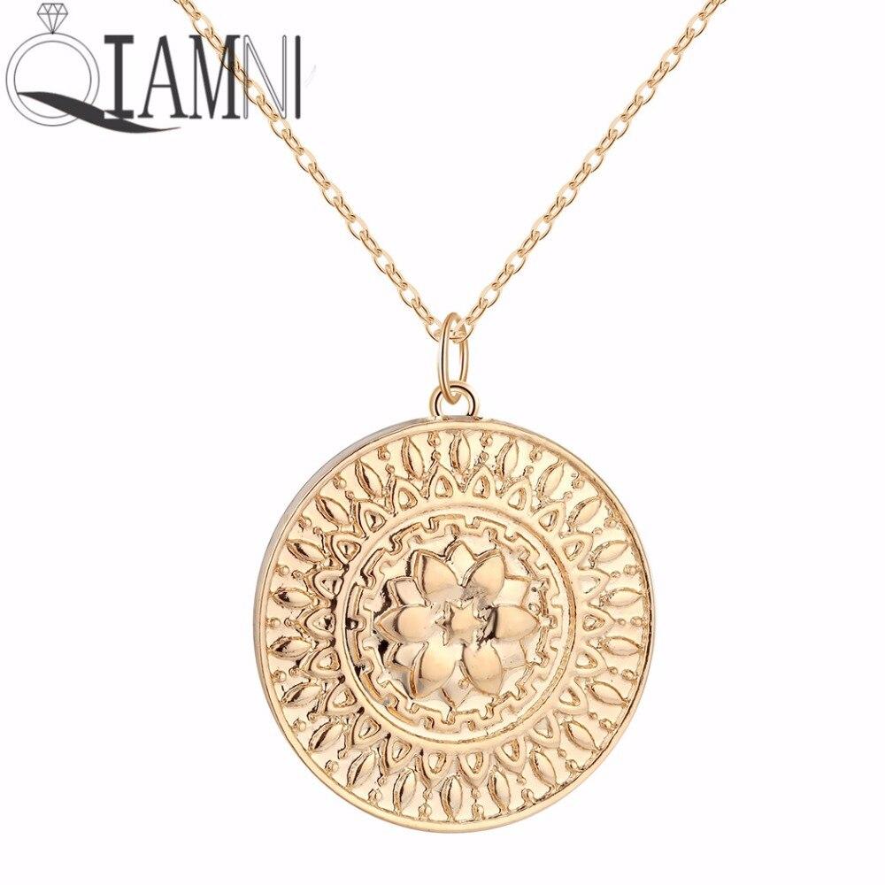 Qiamni ouro redondo girassol moeda colar pingente boa saúde espiritual charme indiano muçulmano antigo amuleto jóias religiosas