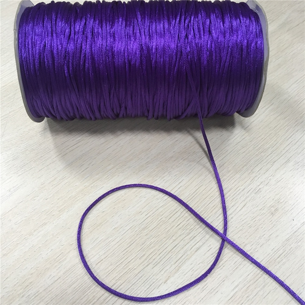 2mm 20 m/lote régia roxa rattail satin cord nó chinês trançado corda jóias descobertas miçangas corda # r676