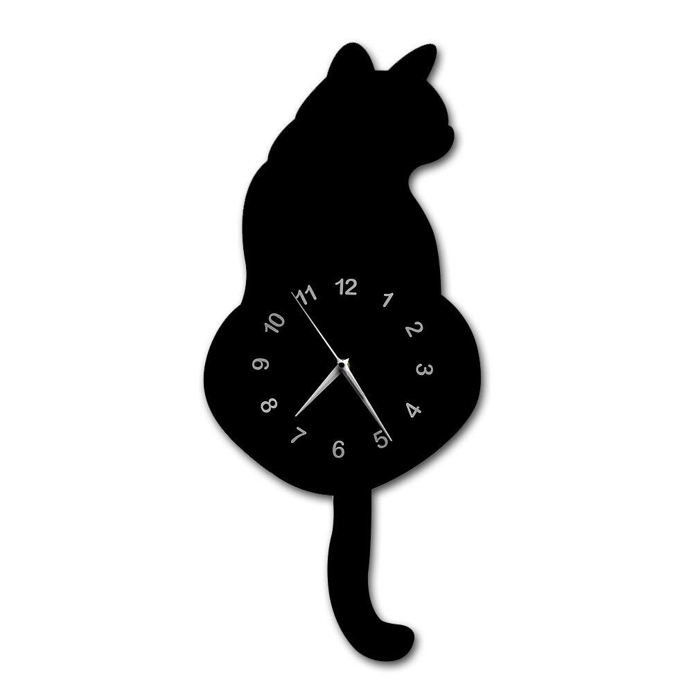 Japanische Entzückende Schwarze Katze Pendel Uhr Lustige Katze Fnny Katze Swinging Schwanz Wanduhr Kit Katze Wand Decor Kätzchen Liebhaber geschenk