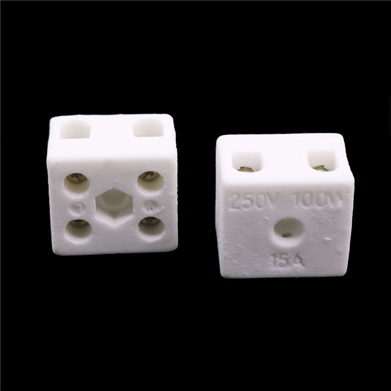 2 Pcs Ceramic Post Terminal Blocks 15A 250V Home Improvement Electrical Equipment Supplies Connector