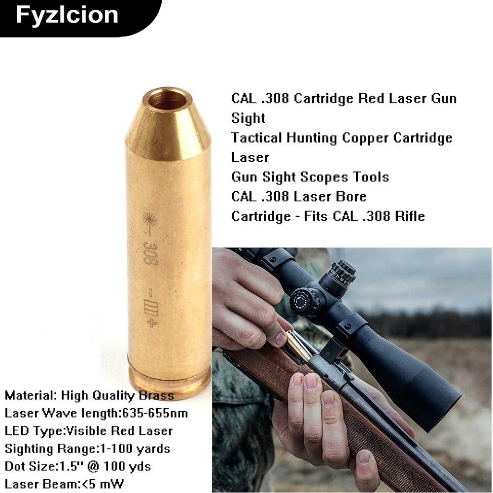 Arma tática furo vista cal. 308 cartucho vermelho laser latão arma vista para arma de ar rifle scope caça acessório