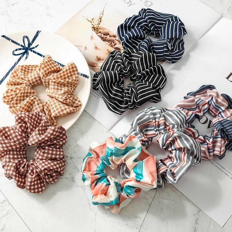 1PC Women Elegant Print Retro new plaid stripes Tie Scrunchie Ponytail Hair Holder Rope Lady Hair Accessories Headwear