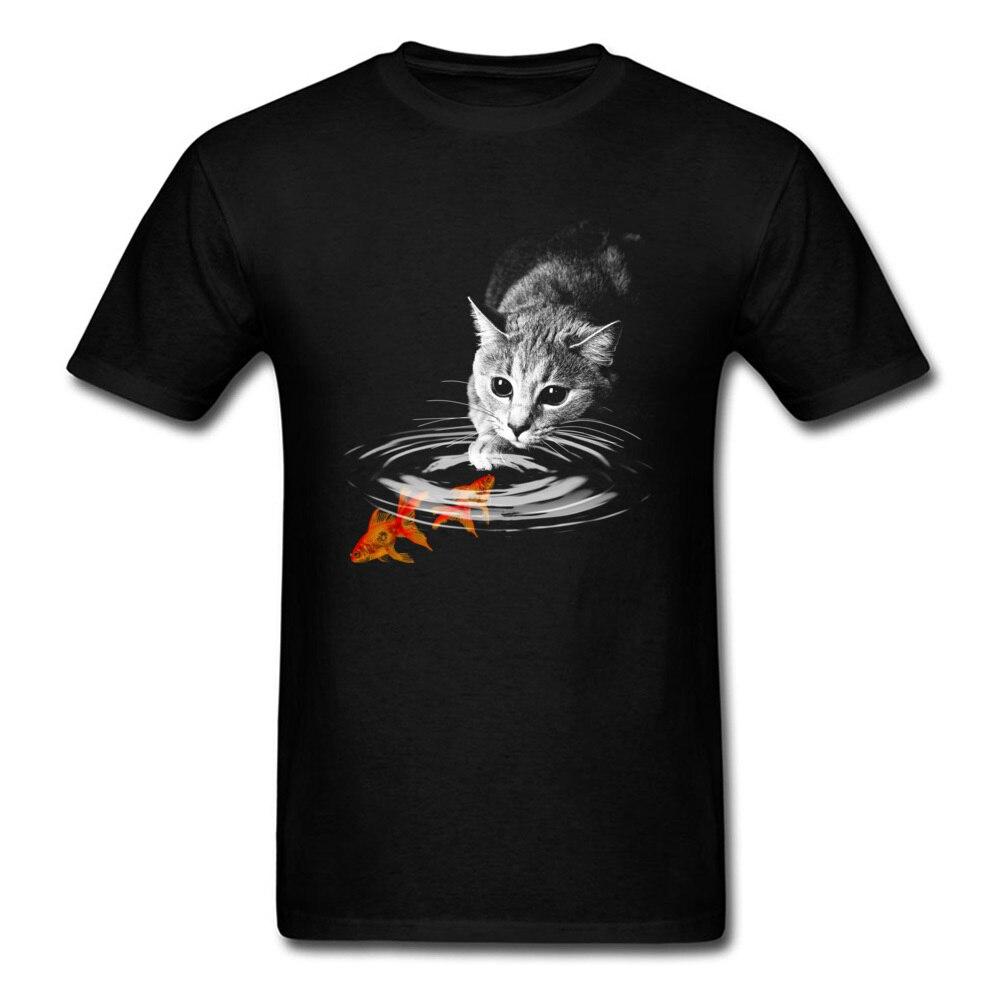 Food Trip 2018, Camiseta con estampado de gatos y peces dorados 3D, camiseta para hombre, camiseta negra de verano, camisetas de diseño novedoso, camisetas para amantes de los animales
