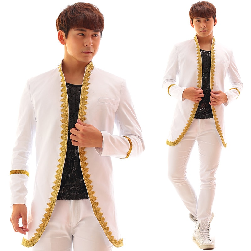 White men suits designs embroidered stage costumes for singers blazer dance clothes jacket star style dress punk european