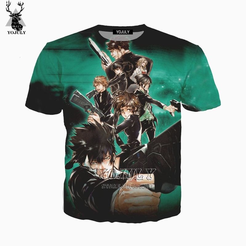 YOJULY 3D imprimir mujeres hombres Anime Psycho-Pass Kougami Shinya Casual Harajuku cuello redondo Camiseta manga corta Camiseta Streetwear A462