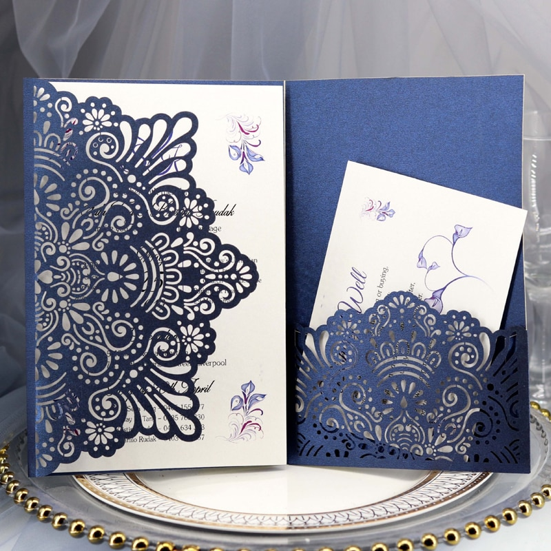 1pcs Elegant Laser Cut Wedding Invitation Cards Greeting Card Tri-Fold Lace Business Card With RSVP Cards Decor Party Supplies rsvp