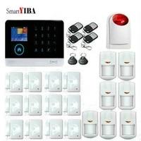 SmartYIBA     Kit de systeme dalarme de securite domestique sans fil  wi-fi  GSM  sirene stroboscopique  anti-cambriolage  francais  italien  polonais  russe  espagnol