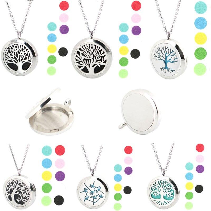 Más de 100 diseños de joyas de plata, aceites esenciales de aromaterapia, difusor de perfume de pendiente de acero inoxidable, relicario de collar