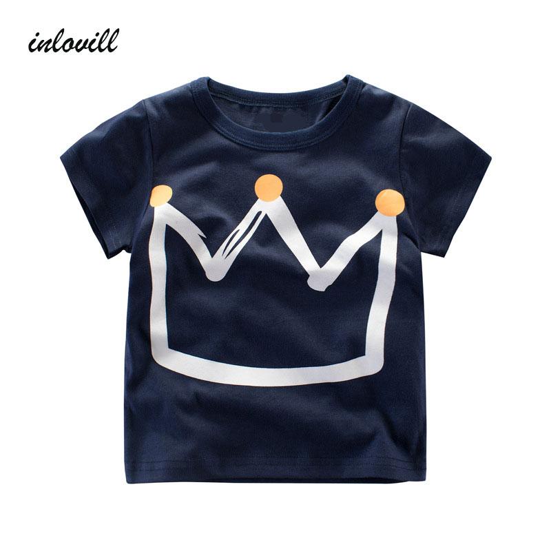 Summer Kids Boys T Shirt Crown Print Short Sleeve Baby Girls T-Shirts Cotton Children's T-Shirt O-Neck Tee Tops Boy Clothes недорого