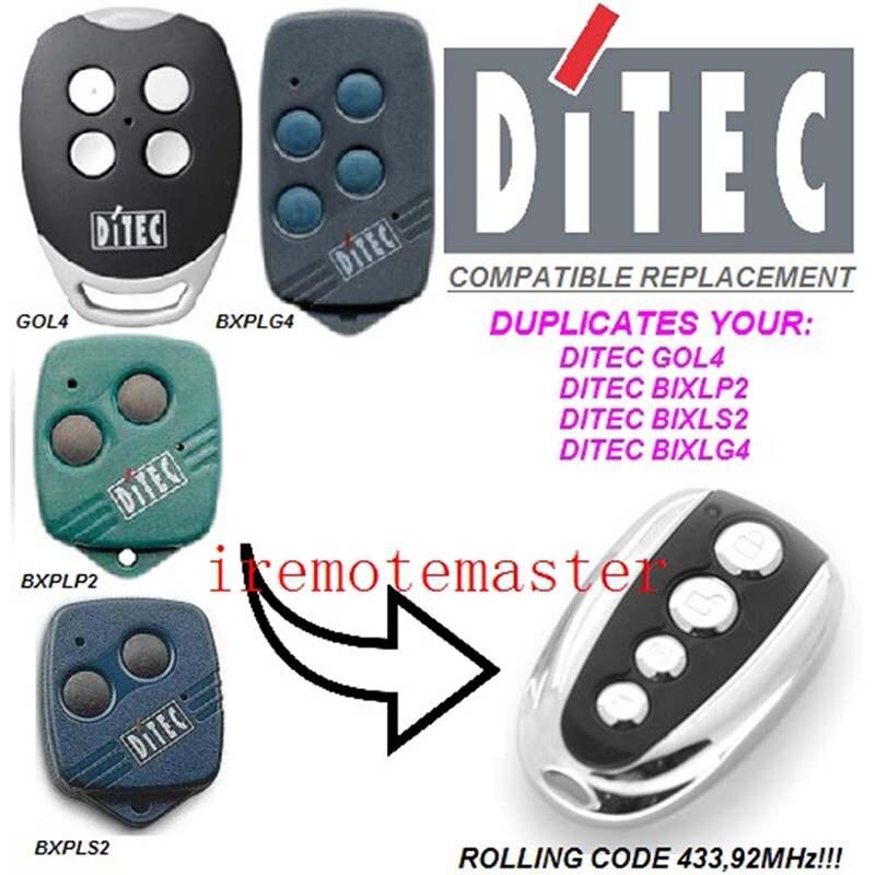 5 piezas DITEC GOL4, BIXLP2, BIXLS2, BIXLG4 código de laminación 433,92 mhz reemplazo de control remoto hermoso