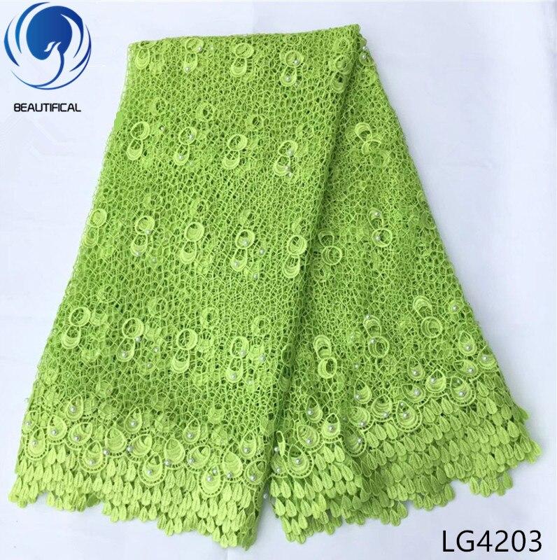 Telas africanas BEATIFICAL de encaje, oferta especial 2018, producto químico nigeriano, tela de bordado de encaje para el cordón del vestido, 5 yardas/lote LG42