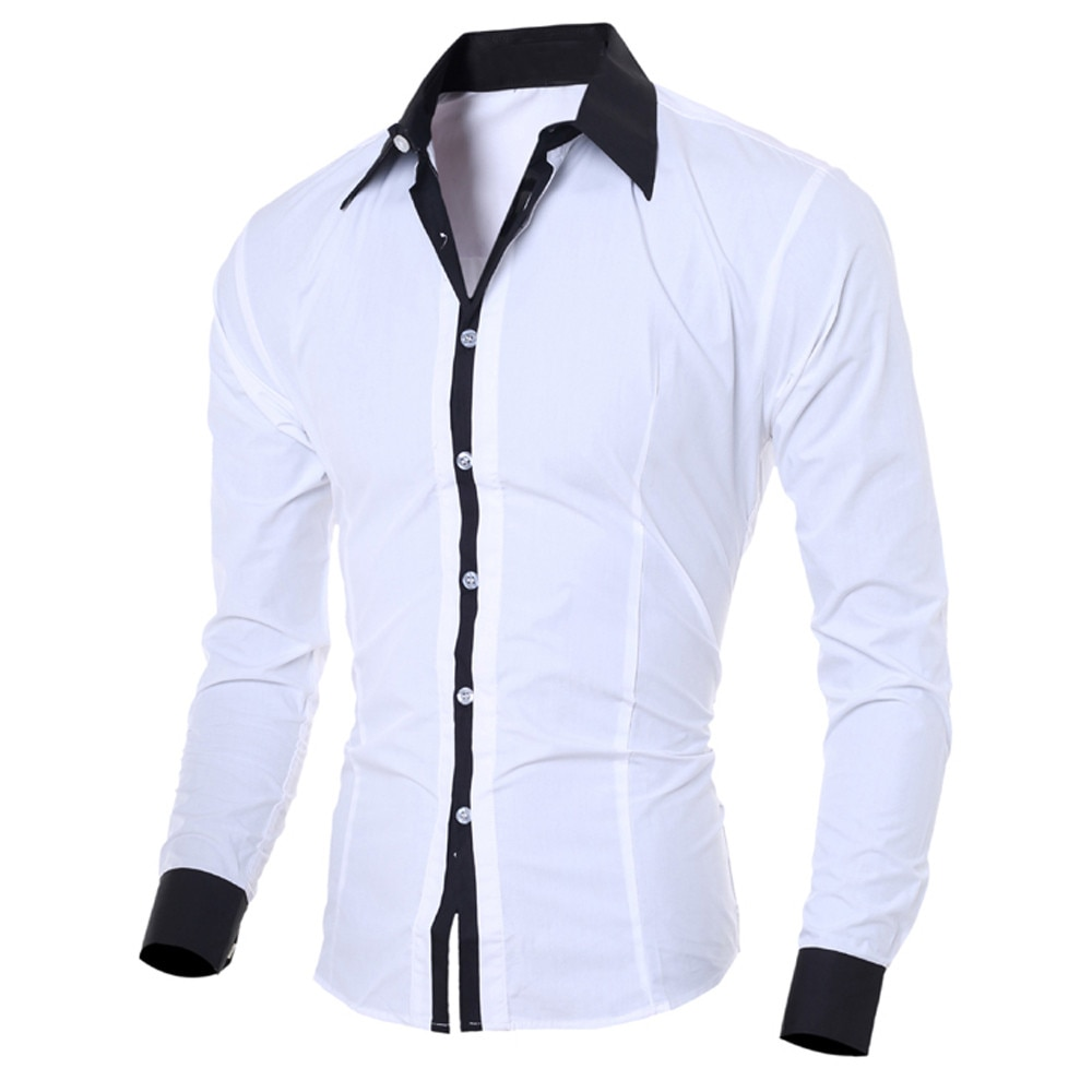 Camisa manga larga para hombre 2020, Camisa blanca de tela de retales, Camisa hawaiana de lino, camisas informales ajustadas para hombre, Camisa