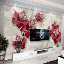 Papel pintado Mural personalizado 3D estéreo flores en relieve foto de joyería pared Pintura Sala TV sofá Fondo papel de pared decoración del hogar