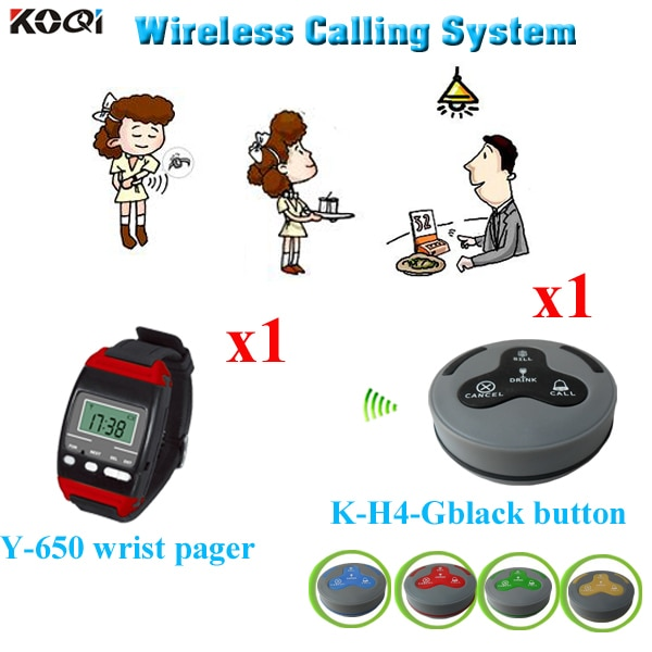 Wireless Service Calling System For Restaurant Hotel Pager With One Waiter Watch Receiver And One Call Button