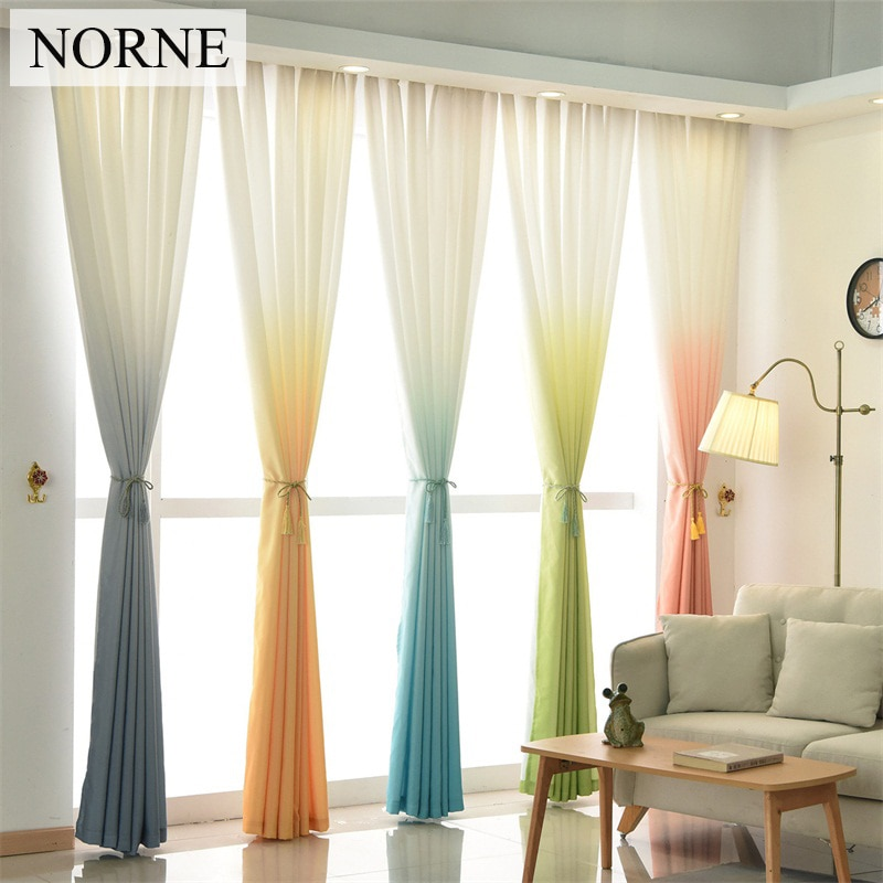 NORNE Modern Window Treatment Room Darkening Gradient Color Curtains Drapes for Bedroom Living Room Kitchen Door Blinds Curtain
