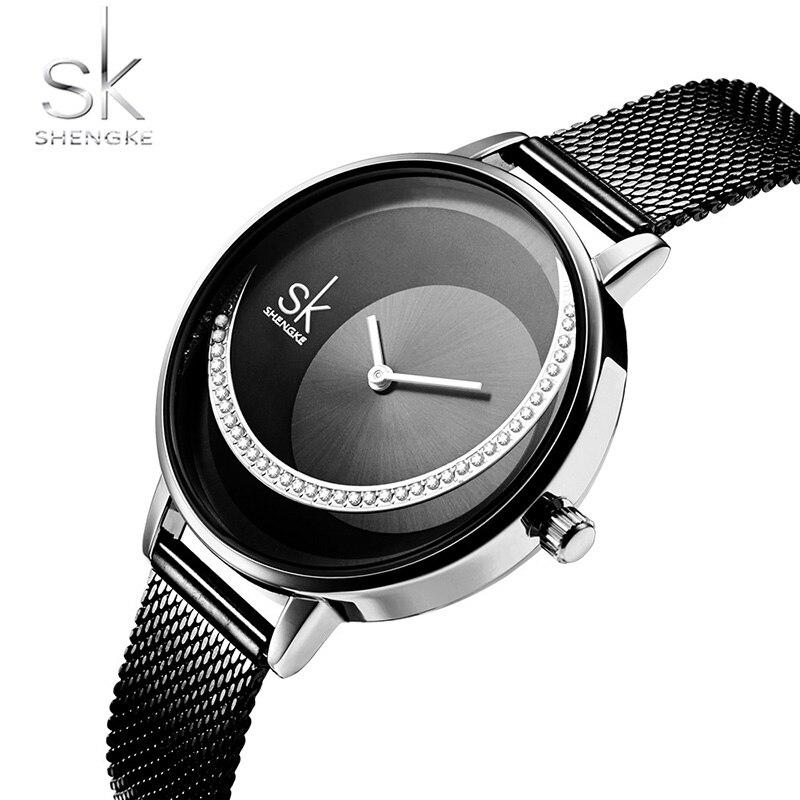 Shengke Crystal Watch Women Dress Ladies Quartz Watch Reloj Mujer 2019 SK Top Brand Luxury Stainless Steel Watch zegarek damski enlarge