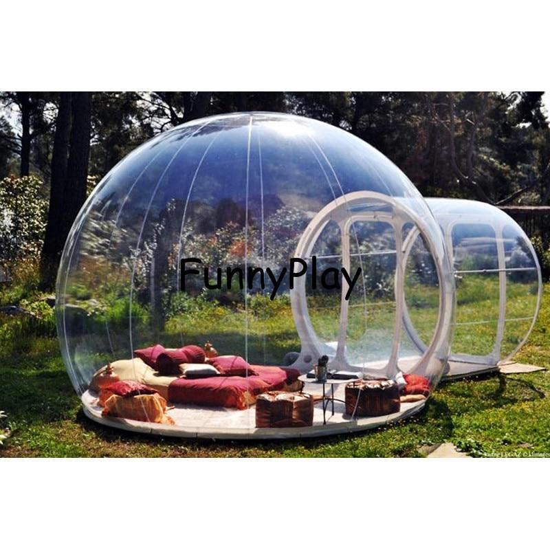 خيمة تخييم فقاعية قابلة للنفخ ، نفق واحد ، للتنزه على الشاطئ ، شفافة مع الدهليز ، كوخ الإسكيمو كبير قابل للنفخ