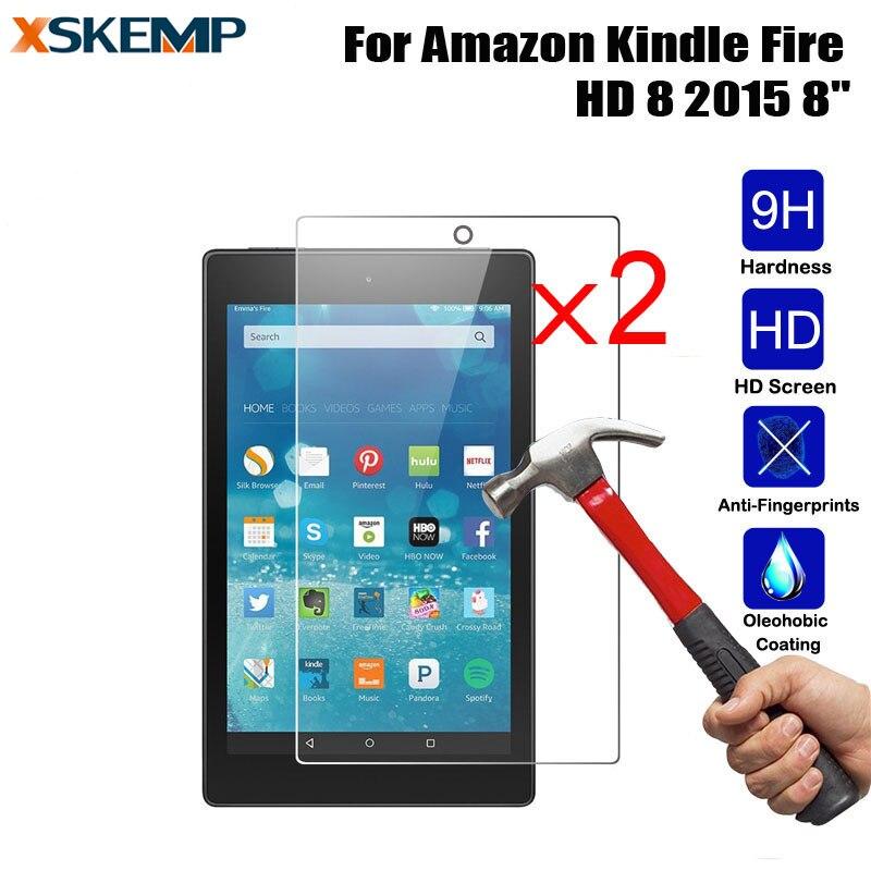 XSKEMP 2 unids/lote Ultra-Delgado Tablet para Kindle fire HD8 2015 vidrio templado Anti-Scratch Screen película protectora 9 H