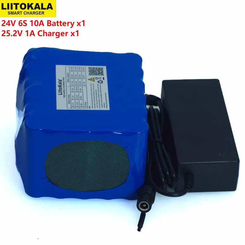 LiitoKal 24 فولت 10Ah 6S5P 18650 بطارية ليثيوم بطارية 24 فولت الكهربائية دراجة الدراجة الكهربائية بطارية ليثيوم أيون حزمة + 25.2 فولت 2A شاحن