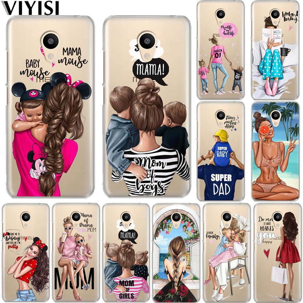 Luxury Fashion Black Baby Mom Girl Brown Family Hair Etui Case For Meizu M6 Note M5S 5C M3s 3 M5 Note Pro6 U10 U20 Coque Cover