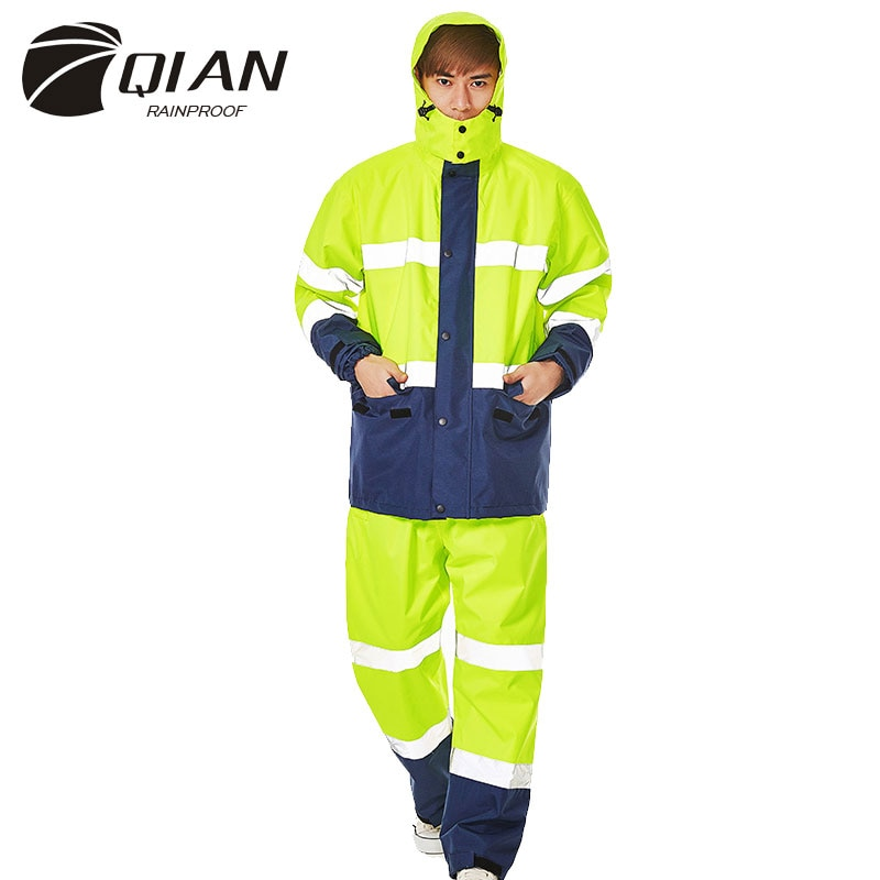 QIAN Brand Impermeable Raincoat Women/Men Jacket Pants Set Adults Rain Poncho Thicker Police Working Wear Motorcycle Rainsuit