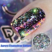 Aurora camaleón lentejuelas brillo de uñas escamas 0,2g decoración de uñas brillante holográfica polvo decoraciones de uñas deslumbrantes