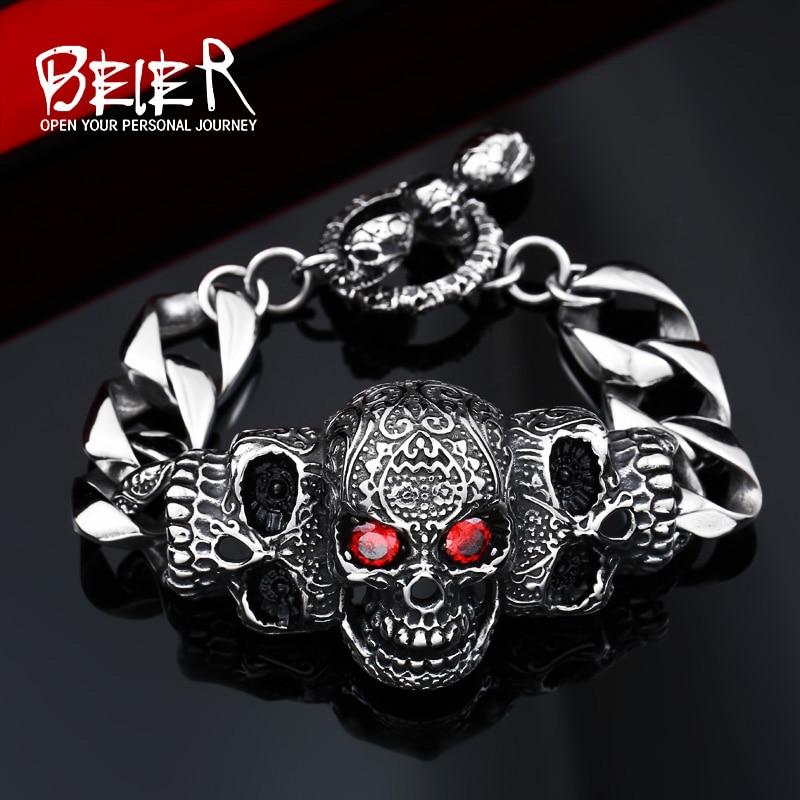 Мужской браслет-брелок BEIER, из нержавеющей стали 316 lStainless, с красным глазом и черепом, заводская цена, BC8-021