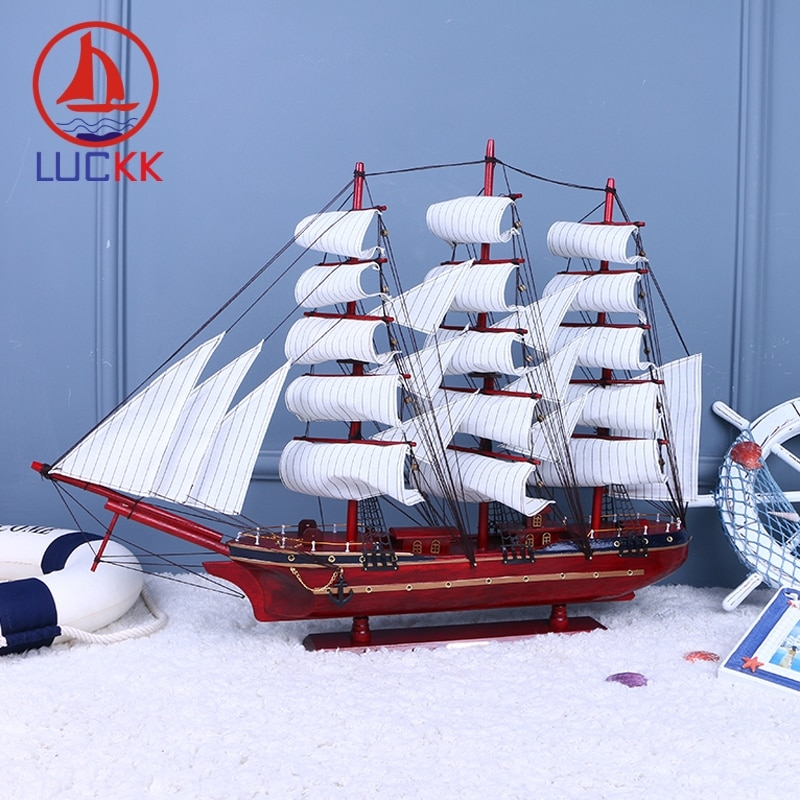 LUCKK 80 см красный DIY деревянная модель кораблей парусник с якорем Nordica украшение дома ремесла предложение с бесплатной доставкой 97116A
