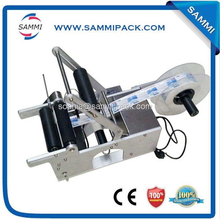 Máquina de etiquetado de botellas redondas semiautomática fabricante de China con interruptor de Pedal