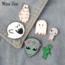 Ghost Alien emaille pin Leuke Boo Ghost monster Krans alien baby badge broche Revers pin Denim Jean shirt zak Cartoon sieraden Gift