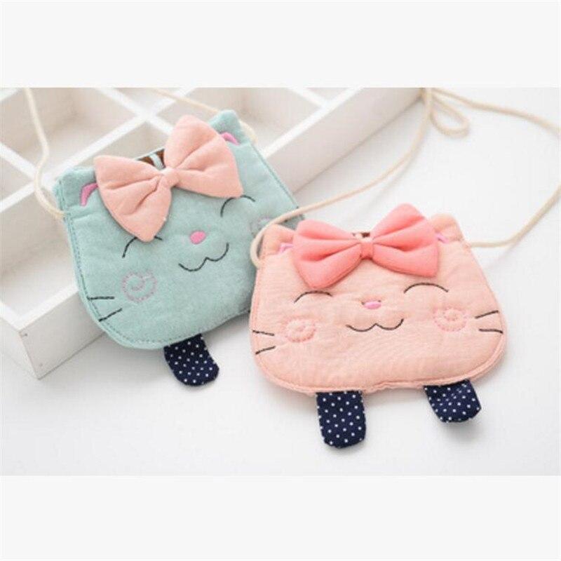 Collar de tela hecho a mano de Corea con lazo de gato, bolso colgante, Collar de cadena, joyería de moda para niños y niñas, Accessories-TMMJCGNLB012F