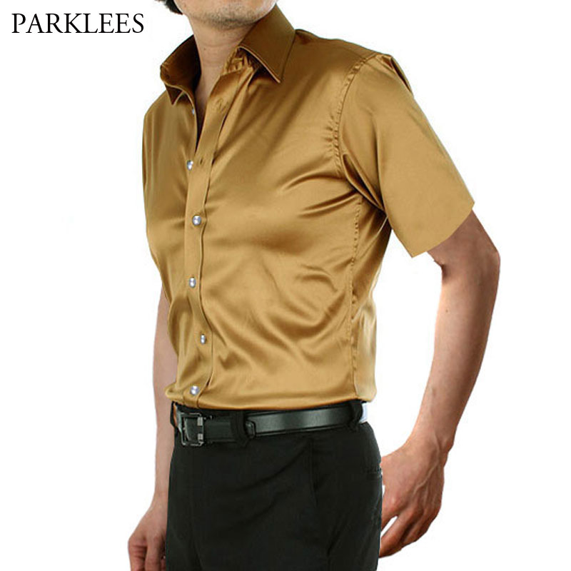 Stylish Gold Silk Satin Shirt Men Chemise Homme 2019 Casual Short Sleeve Slim Fit Mens Dress Shirts Business Camisa Masculina