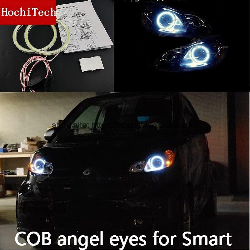 Para Smart fortw451 Mk2 2008 2009 2010 2013 2014 luz Led de día COB blanco Halo Cob Led Ojos de Ángel anillo de Error libre Ultra brillante