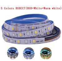 Гибкая светодиодная лента RGB + CCT 5050, 12 мм, печатная плата 5 м 4 в 1 5 в 1, 60 светодиодов на метр, 5 цветов в 1, чип CW + RGB + WW RGBW RGBWW, 12 В, 24 В