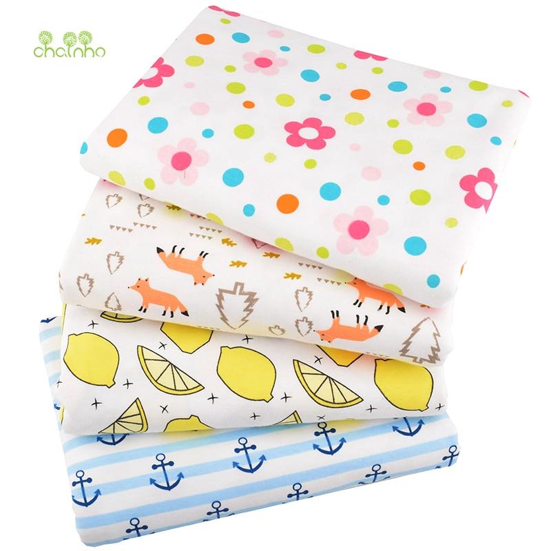 Chainho,4 design cartoon series, tecido de algodão de malha impressa, para diy estofamento & costura bebê & roupas infantis material, 90x100cm