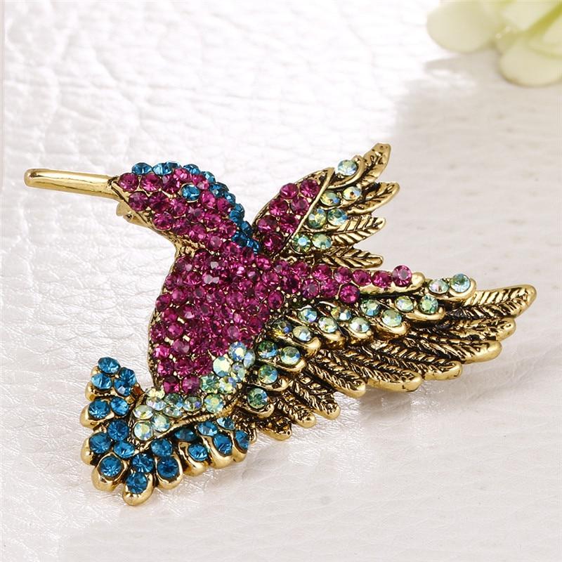 Broche de colibrí vívido, Pin de cristal con diamantes de imitación, Animal pájaro, prenda para mujer, bufanda de accesorio, broches Vintage, joyería