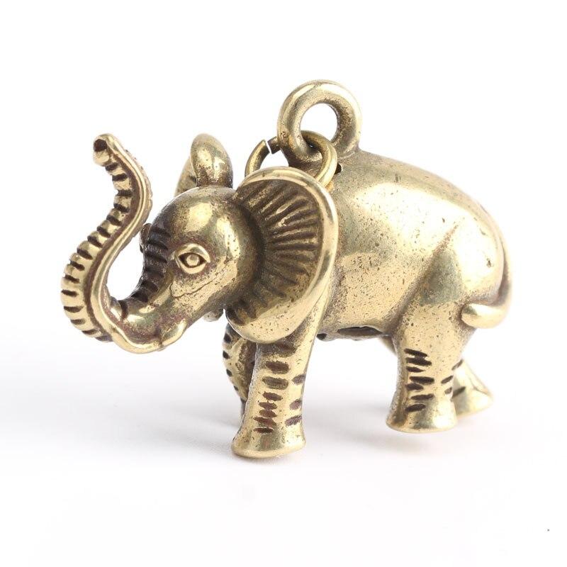 2019 nova popular chaveiro artesanal de metal criativo chaveiro elefante de bronze de cobre puro sólida pingente tendência retro pingente de presente