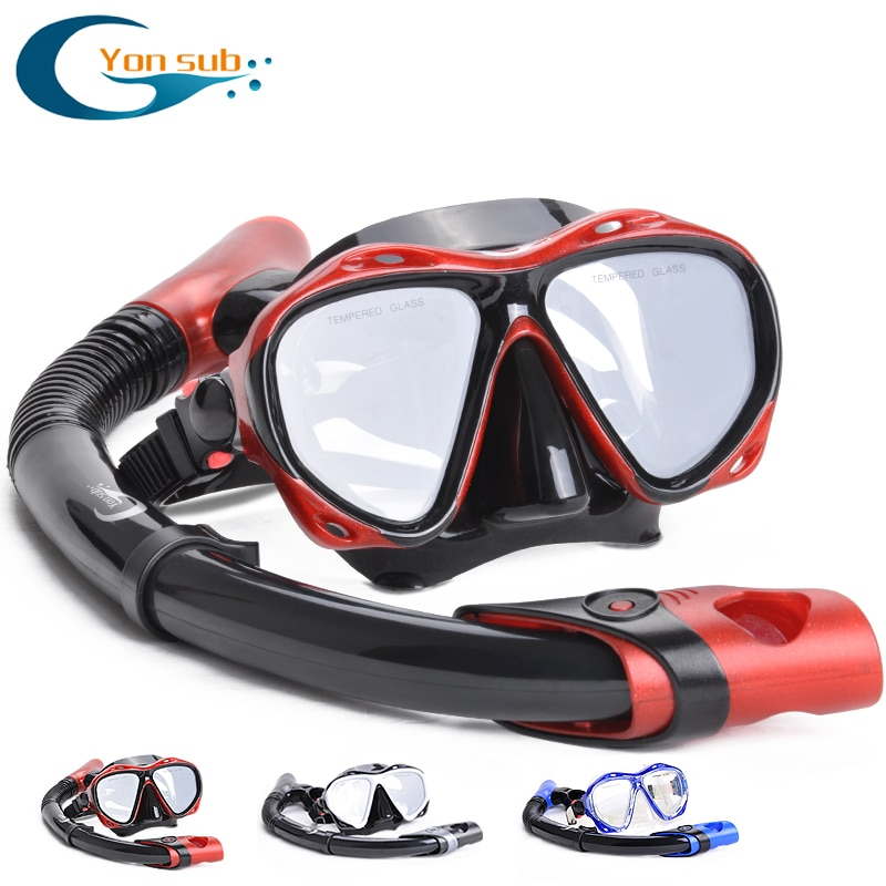 YONSUB myopia tempered dive optical lens mask scuba diving mask snorkel set underwater anti fog and tube diving equipment