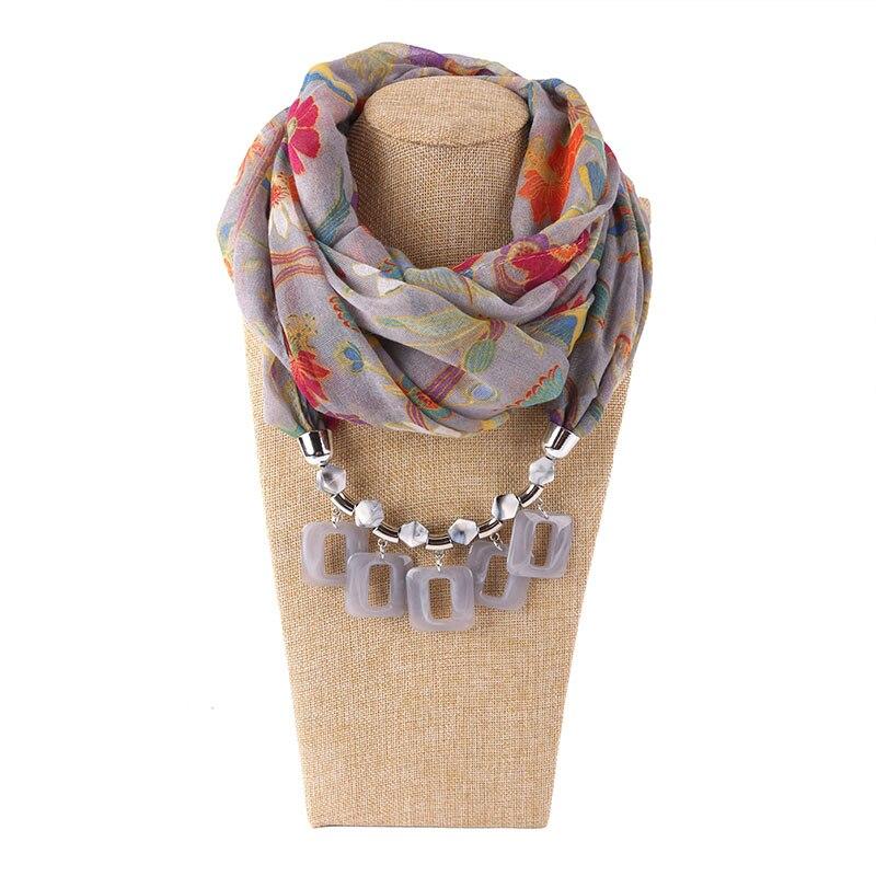 Женский шарф, платок из шифона, шарф для волос, Янтарное ожерелье, платок для головы с эффектом смолы, украшения с кулоном, бесплатная доставка
