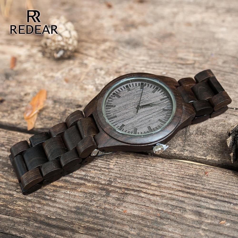 REDEAR ручной работы черный сандал часы любовника часы Прохладный Природа Дерево кварцевые часы в подарочной коробке, чтобы Для женщин
