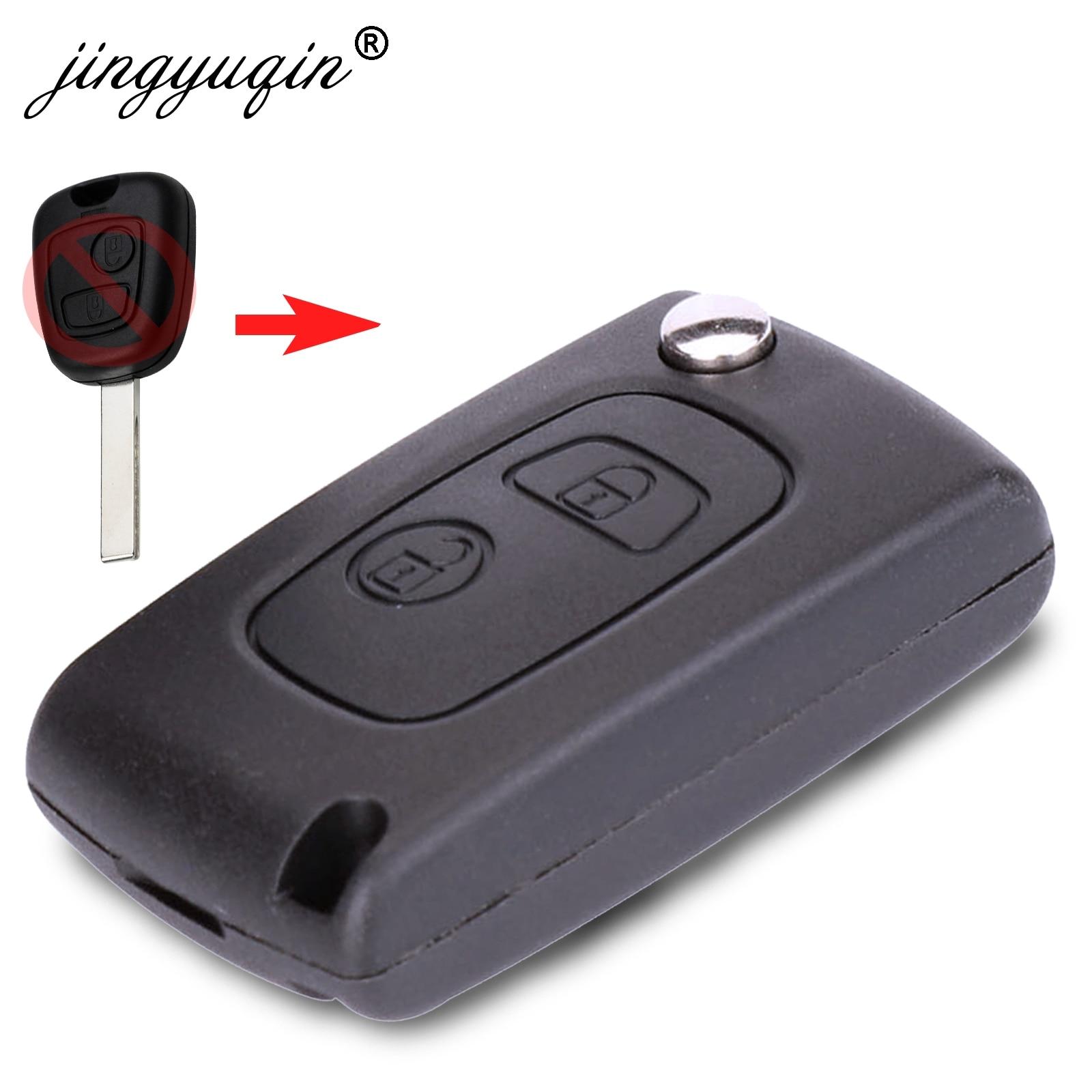 Jingyuqin 10 2 pçs/lote Flip Botão do Controle Remoto Caso Chave Do Carro Shell Para Peugeot 107 207 407 106 206 306 Modificado VA2 Chave Fob