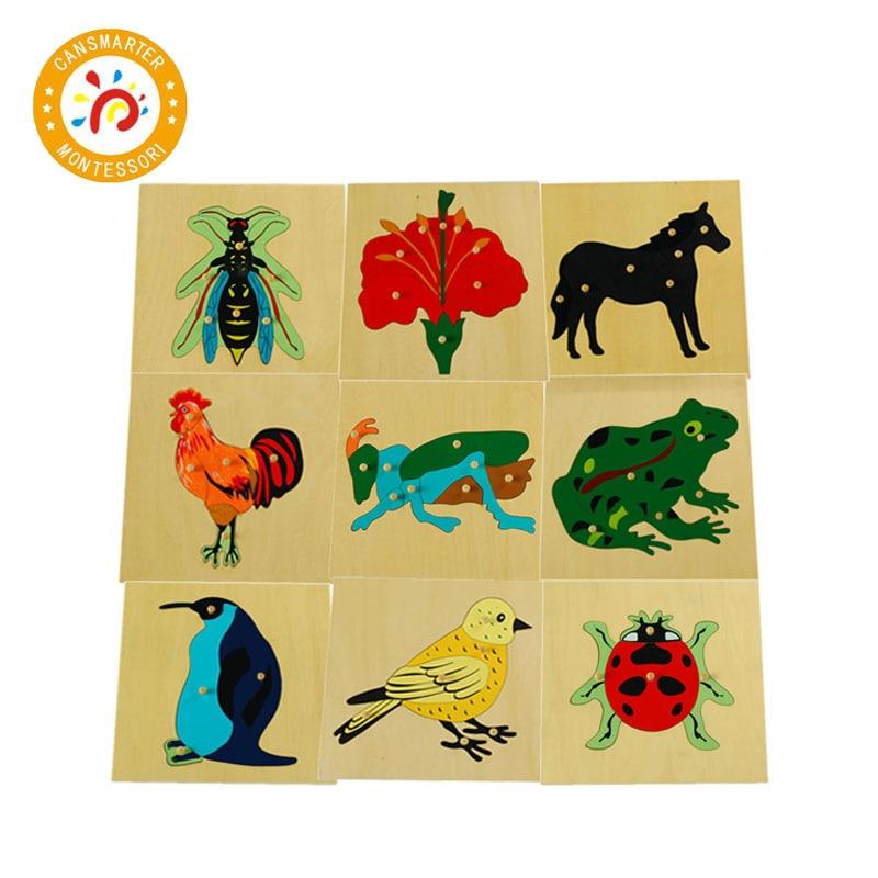 3D головоломки с животными для детей, игрушки Монтессори, Детские Растения, Обучающие учебные пособия, деревянные головоломки, игра BO003
