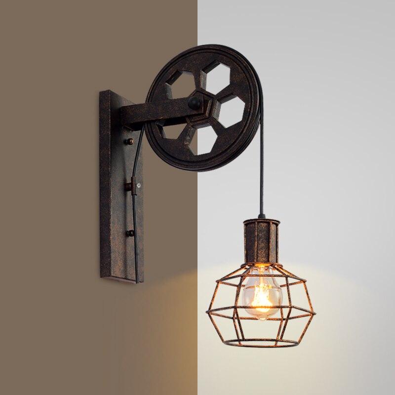 loft retro industrial  lifting pulley wall lamp personalized restaurant corridor lamp