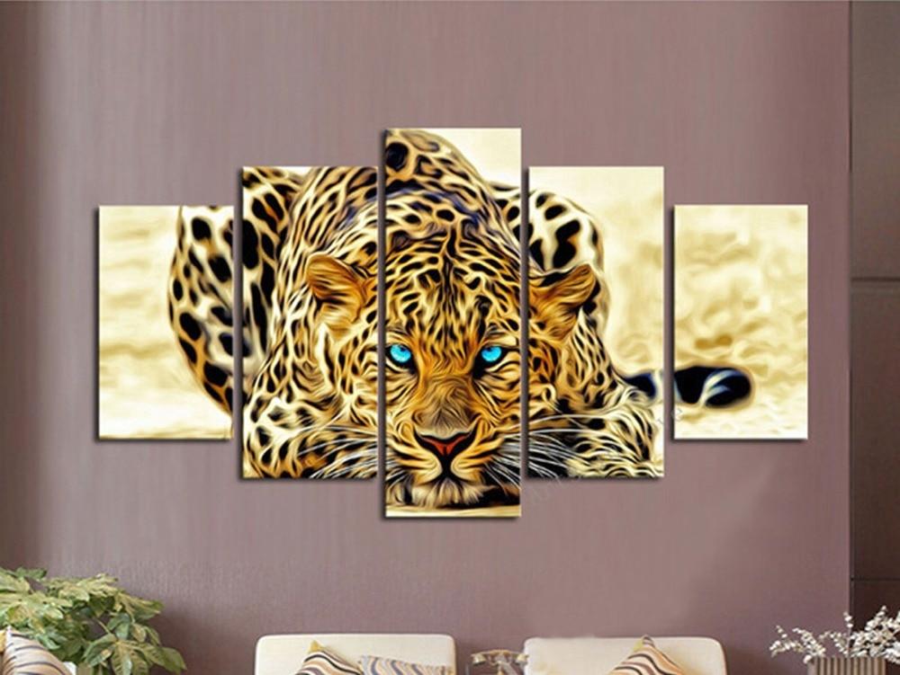 Nueva pintura impresa de 5 piezas de arte de lona decoración del hogar para el hogar sala de estar lienzo cuadro de arte de pared-Tigre feroz  J0042